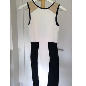 Ronny Kobo Tri Color Knit Body Con Dress Sz XS